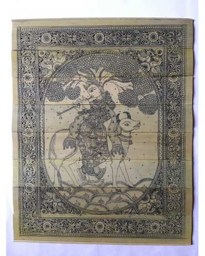 Akruti Handicraft Palm Leaf lord krishna Engraving Story In Pattachitra.