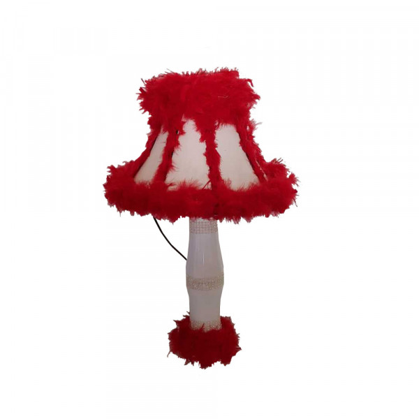 FEATHERED RED AND WHITE LAMP