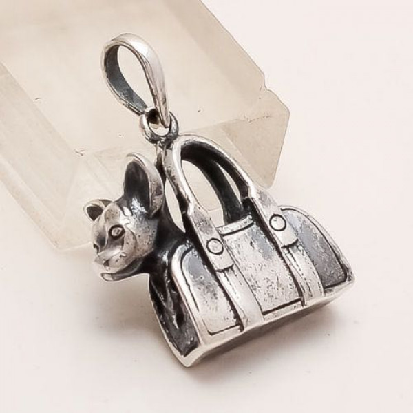 Sterling Silver Dog Carrying Purse Pendant