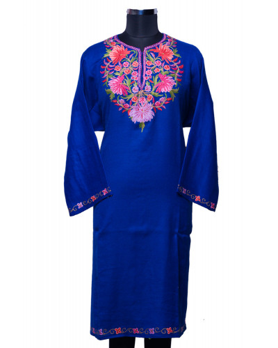 Dark Blue Phiran with Kashmiri Threadwork