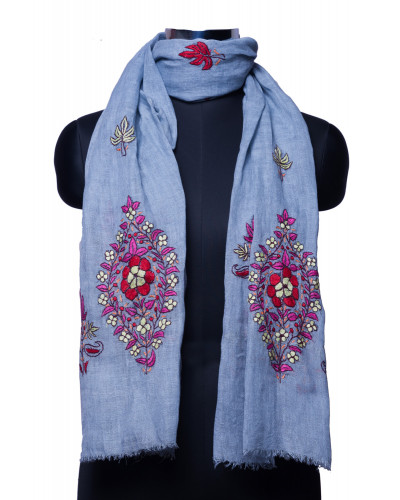 Light Blue Stole with Kashmiri Threadwork