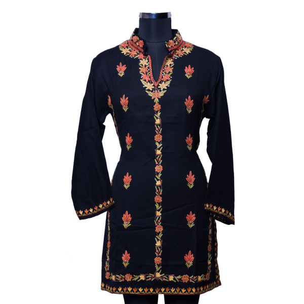 Black Firen with Traditional Kashmiri Threadwork