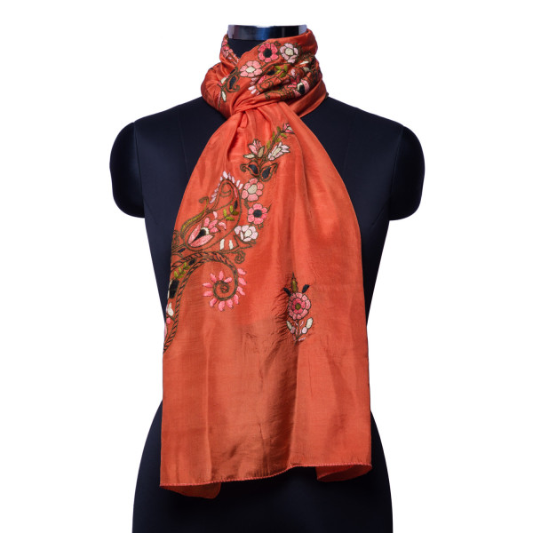 Orange Dupatta with threadwork