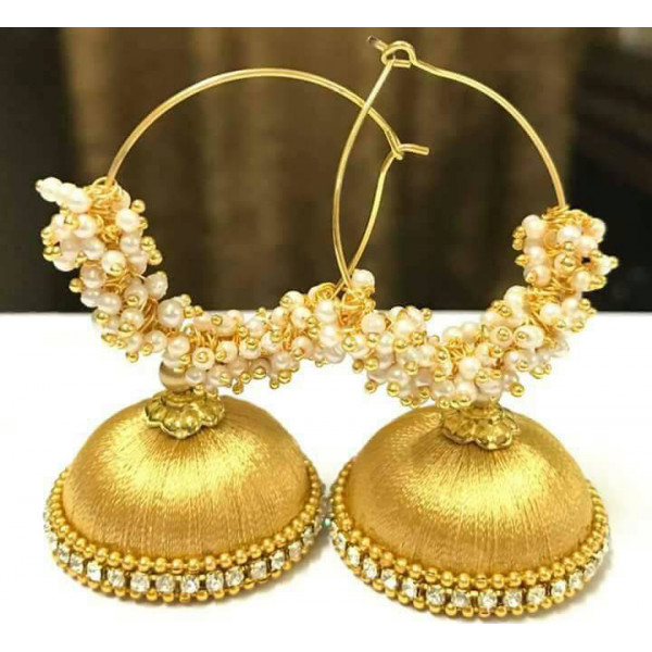 Debu Mehta Pair of Golden Thread Earrings