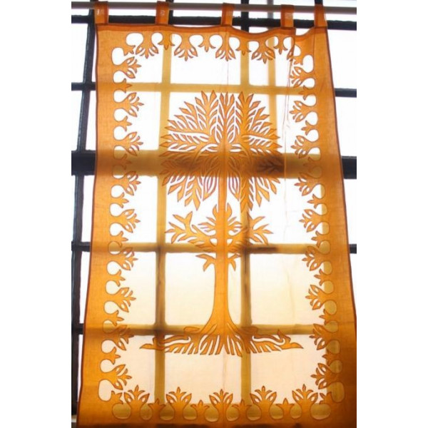 Orange Cotton Curtain with  Tree of Life Imprint