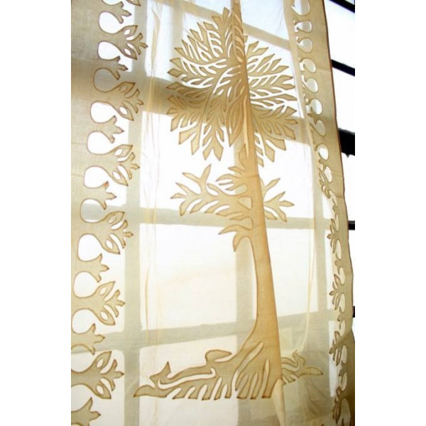 Brown Cotton Curtain with Tree of Life Imprint