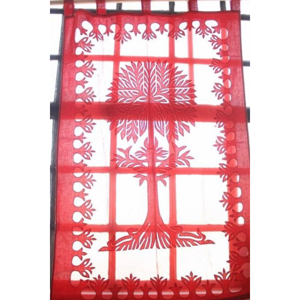 Red Cotton Curtain imprinted with Tree of Life