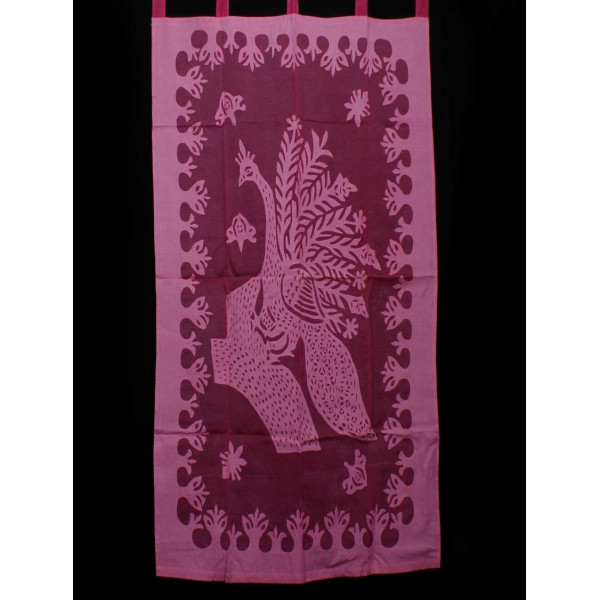 Red and Pink Cotton Curtain with Peacock Print