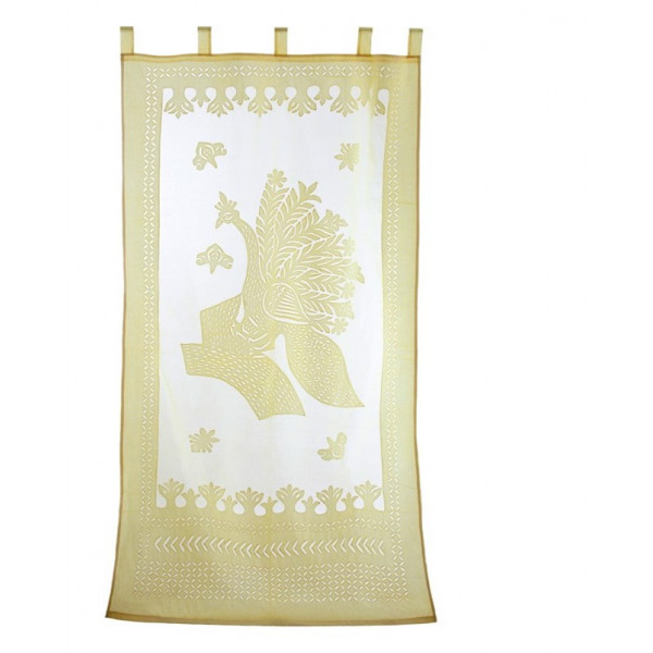 Brown Cotton Curtain with Peacock Print