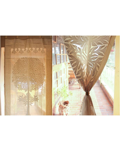 Brown Cotton Curtain imprinted with Tree of Life
