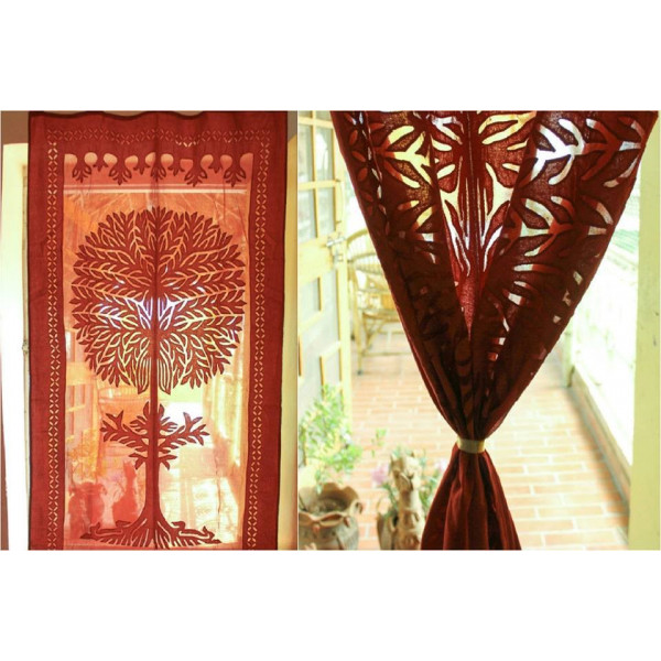 Orange Cotton Curtain imprinted with Tree of Life