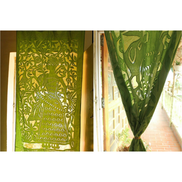 Green Cotton Curtain with Mughal Print