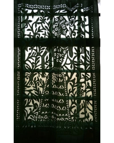 Black Cotton Curtain with Mughal Print