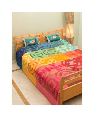 Blue Maddar Multi Color Double Bed Cover