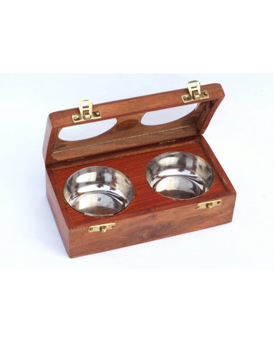 Anam Craft Dry fruit box with 2 steel bowls