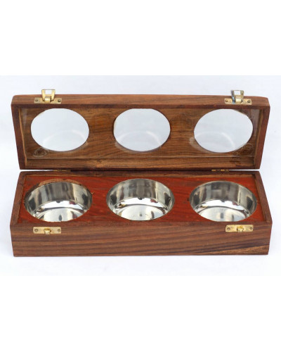 Anam Craft Dry fruit box with 3 steel bowls