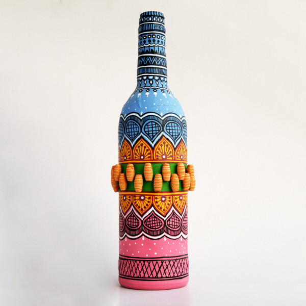 Art Can B Bottle Flower Vase Blue And Pink Tomb Design