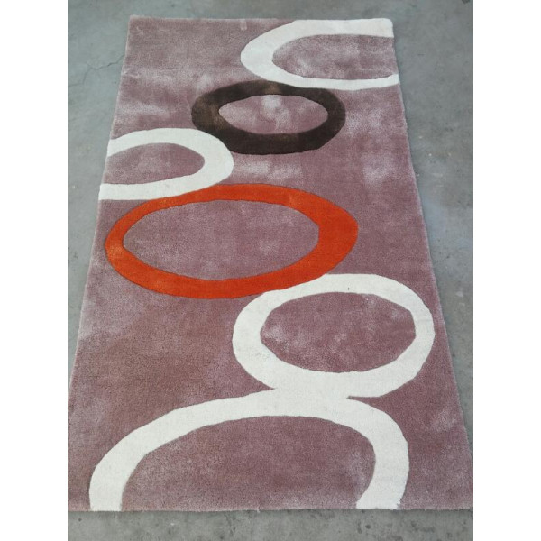 Silk multicolor carpet with circular designs