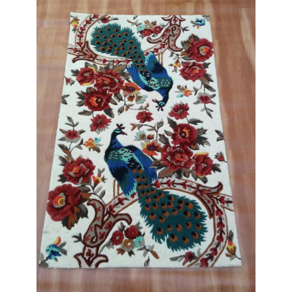 Peacock Couple wool and silk multicolor carpet