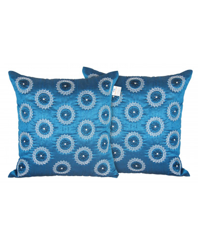 Zikrak Exim Set of 2 Poly Dupion Cushion Covers  blue circle zig zag embroidery 40X40 cm (16X16)