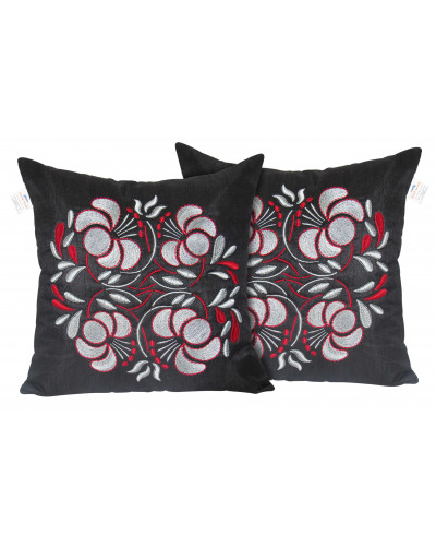 Zikrak Exim Set of 2 Poly Dupion Cushion Covers 40X40 cm black flower embroidery (16X16)