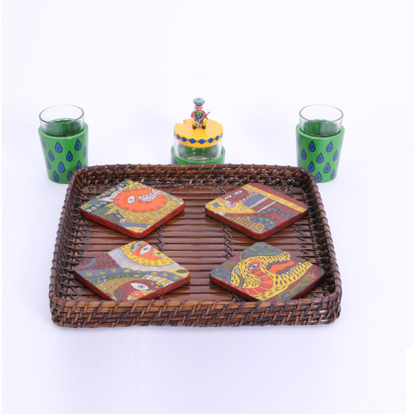 Banarasi Tchai glass set of 2 and chutney jar with hand painted coaster set of 4 in basket