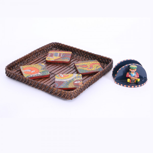 Basket with coasters(set of 4) and one tissue holder