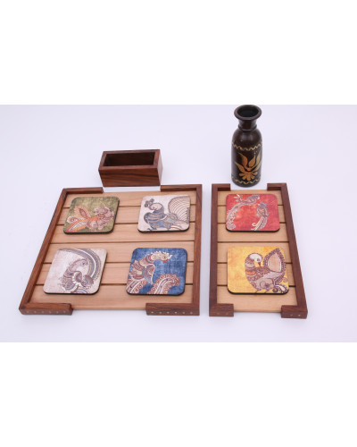 2 wooden trays with a black pot and wooden coasters( set of 6)