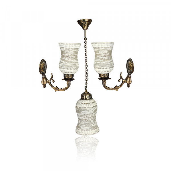 Rich Look Multi Lighting Ornamented With Colorful Chips & Beads Set Of Three
