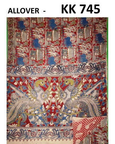 Kalamkari Red and Blue Saree with Swan Motifs