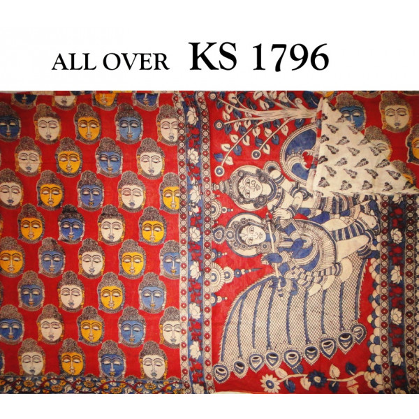 Kalamkari Saree imprinted with Indian Gods motifs and Blouse piece