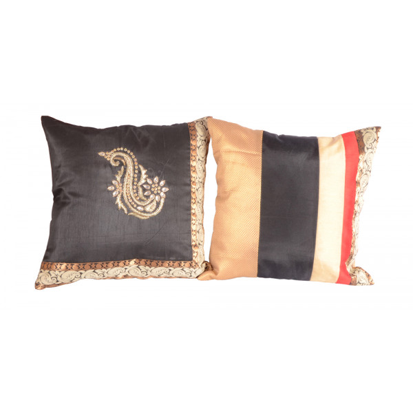 meSleep Hand Embroidery and Brocade Cushion Cover (16x16) - Set of  2