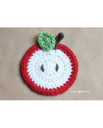 Apple Crochet Coaster - set of 6