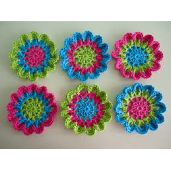 Flower Crochet Coaster- set of 6