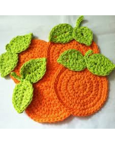 Orange Crochet Coaster- set of 4