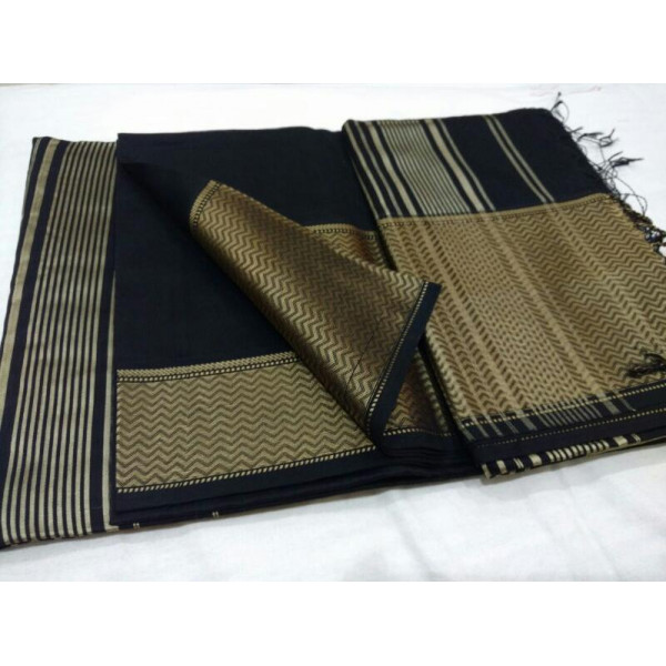 Warp work cotton silk black saree with blouse