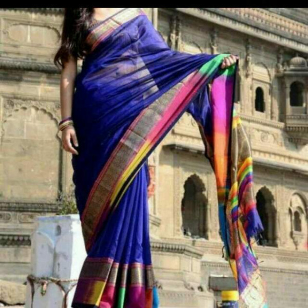 Warp work cotton silk multicolor wedding saree