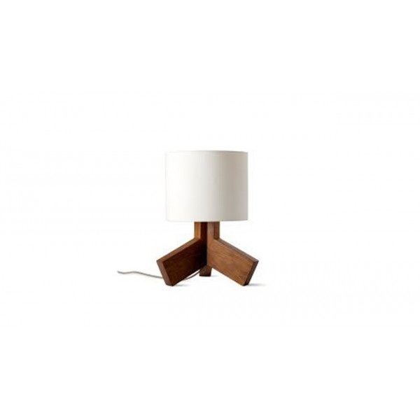 Mango wood table lamp with white lamp shade
