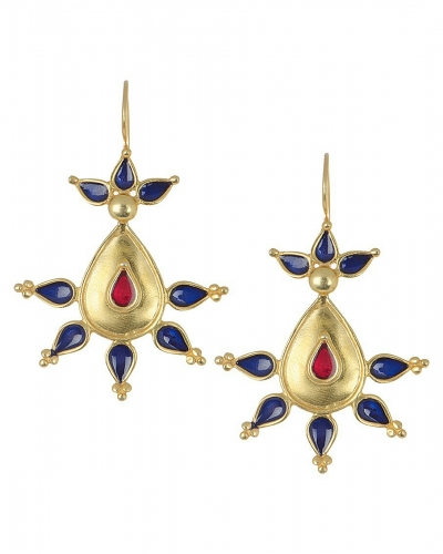 Enamelled Gold Plated Silver Earring