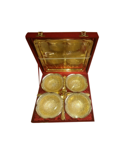 Brass 04 Bowl Set with Tray & Spoon