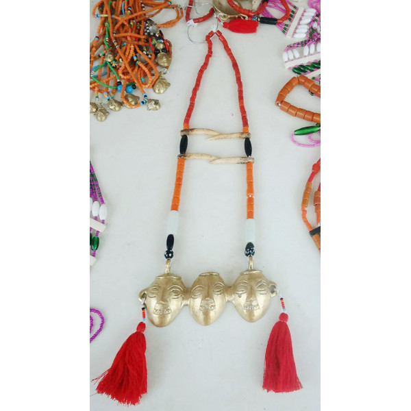 Brass and Bead and elephant bone traditional necklace
